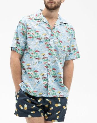 Button-down Tropical Patterns Cotton Short Sleeves Logo