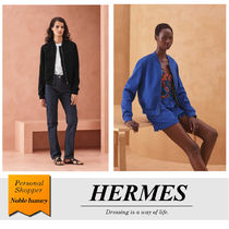 HERMES Blended Fabrics Bi-color Plain Medium Logo Varsity Jackets
