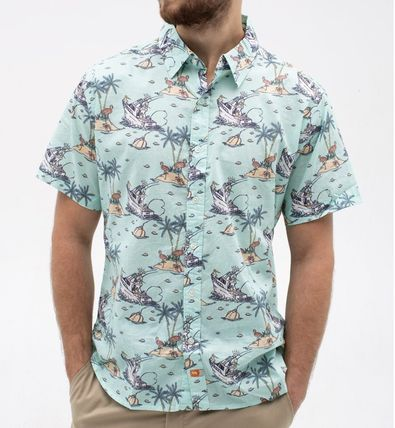 Button-down Tropical Patterns Unisex Cotton Short Sleeves