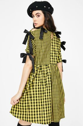 Gingham Tartan Casual Style A-line Blended Fabrics
