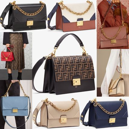 FENDI KAN I Calfskin Canvas Chain Leather Party Style Elegant Style