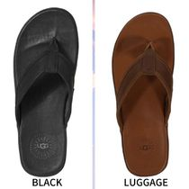 UGG Australia Unisex Plain Leather Flipflop Logo Shoes