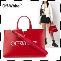 Off-White 2WAY Plain Leather Crossbody Logo Handbags