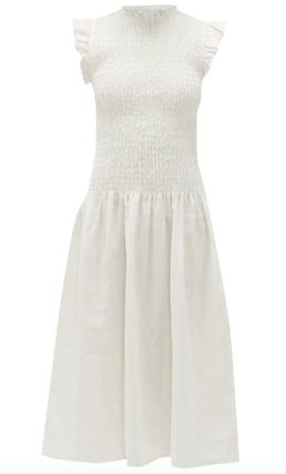 Casual Style A-line Linen Sleeveless Flared Plain Medium