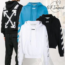 Off-White Pullovers Street Style Long Sleeves Cotton Logo Hoodies