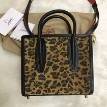 Christian Louboutin Paloma Leopard Patterns Canvas Suede 2WAY Party Style Elegant Style