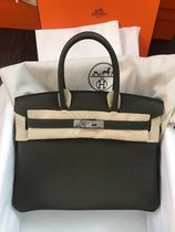 HERMES Birkin Casual Style A4 Plain Leather Office Style Elegant Style
