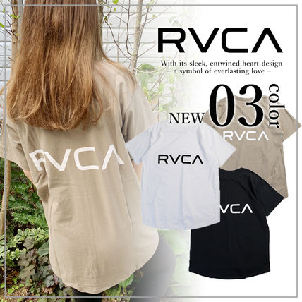 RVCA Crew Neck Crew Neck Unisex Plain Short Sleeves Logo Crew Neck T-Shirts