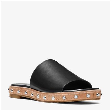 Open Toe Rubber Sole Casual Style Studded Plain Leather