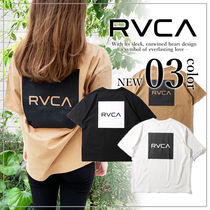 RVCA Crew Neck Unisex Plain Short Sleeves Logo Crew Neck T-Shirts