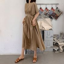 Crew Neck Casual Style Maxi A-line Chiffon Dolman Sleeves