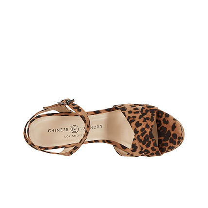 CHINESE LAUNDRY Leopard Patterns Open Toe Casual Style Chunky Heels
