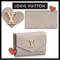 Louis Vuitton LOCKME Unisex Calfskin Plain Small Wallet Folding Wallets