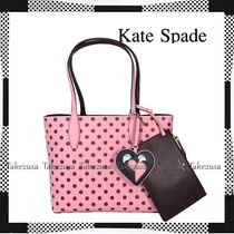 kate spade new york Heart Dots Casual Style A4 Plain Leather Office Style