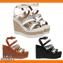 HERMES Open Toe Casual Style Chain Plain Leather Elegant Style