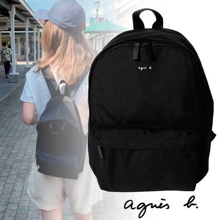 Agnes b Nylon A4 Plain Logo Backpacks