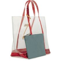 vanessabruno Casual Style Crystal Clear Bags PVC Clothing Logo Sheer