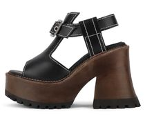 Jeffrey Campbell Open Toe Platform Casual Style Plain Leather Elegant Style