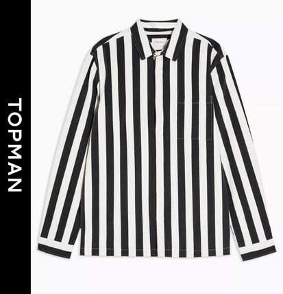 Stripes Street Style Long Sleeves Shirts