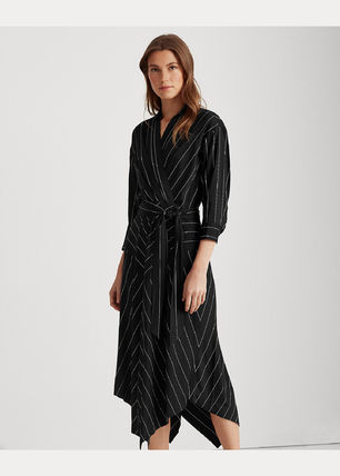 Wrap Dresses Stripes Casual Style V-Neck Cropped Party Style