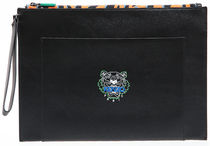 KENZO Unisex Street Style Other Animal Patterns Logo Clutches