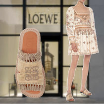LOEWE Open Toe Casual Style Leather Logo Sandals Sandal