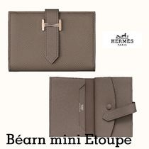 HERMES Bearn Leather Small Wallet Card Holders