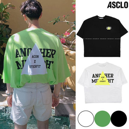 ASCLO More T-Shirts Unisex Street Style Collaboration Plain Cotton Short Sleeves