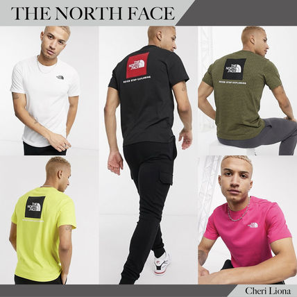 THE NORTH FACE Crew Neck Crew Neck Street Style Plain Cotton Short Sleeves Logo