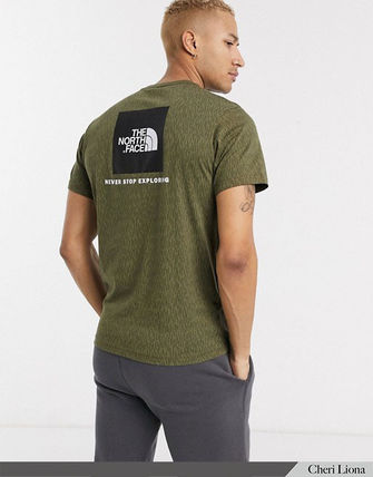 THE NORTH FACE Crew Neck Crew Neck Street Style Plain Cotton Short Sleeves Logo 12