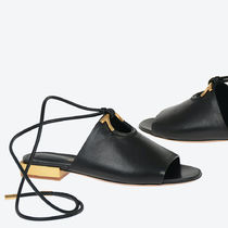 Salvatore Ferragamo Plain Toe Round Toe Casual Style Plain Leather Block Heels