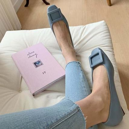 Square Toe Faux Fur Plain Block Heels Formal Style