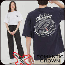 ROMANTIC CROWN Pullovers Unisex Street Style U-Neck Cotton Short Sleeves