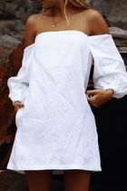 Maurie and Eve Platinum Short Linen Long Sleeves Puff Sleeves Bridal Loungewear