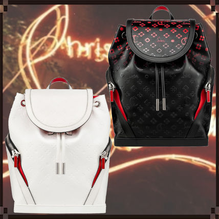 Street Style A4 Leather Logo Backpacks