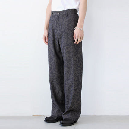 Slax Pants Flower Patterns Unisex Wool Slacks Pants