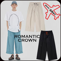 ROMANTIC CROWN Unisex Street Style Cotton Oversized Cropped Pants