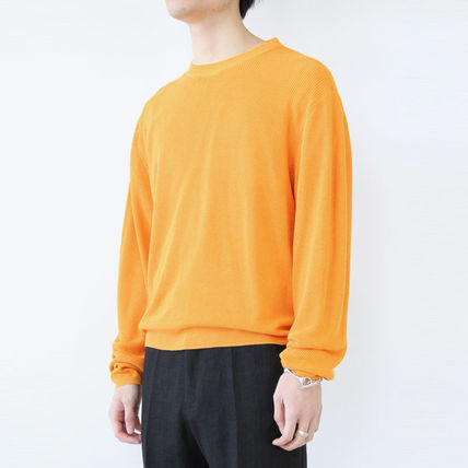 Crew Neck Unisex Fine Gauge Long Sleeves Plain Cotton