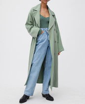 Weekday Stand Collar Coats Casual Style Nylon Plain Long Party Style