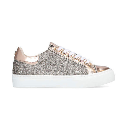Round Toe Lace-up Casual Style Metallic Low-Top Sneakers