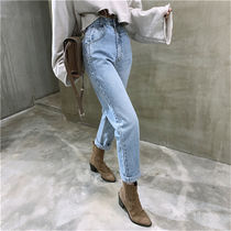 Casual Style Denim Street Style Bi-color Plain Cotton Medium