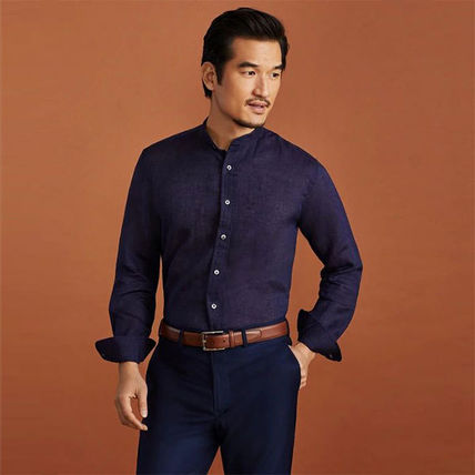 Linen Long Sleeves Band-collar Shirts Shirts