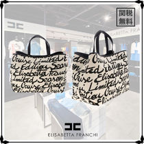 ELISABETTA FRANCHI Casual Style Office Style Logo Totes