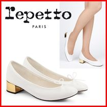 repetto Round Toe Plain Elegant Style Chunky Heels Formal Style