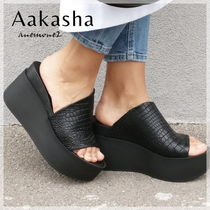 Aakasha Open Toe Platform Plain Leather Platform & Wedge Sandals