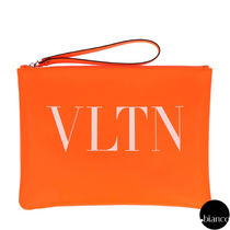 VALENTINO VLTN Unisex Calfskin Bag in Bag Bi-color Logo Neon Color Clutches