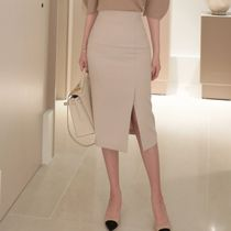 Pencil Skirts Plain Medium Office Style Midi Skirts