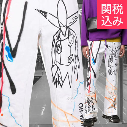 Off-White More Jeans Printed Pants Denim Street Style Jeans