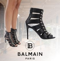 BALMAIN Open Toe Lace-up Casual Style Blended Fabrics Plain