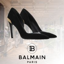 BALMAIN Bi-color Leather Pin Heels Party Style Elegant Style Logo